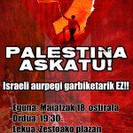 """""""Israeli  aurpegi  zuriketarik  ez""""  lemapean  kontzentrazioa  deitu  du  Gaztetxeak"""